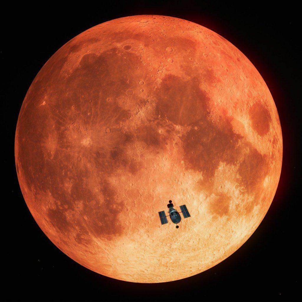 ثبت ماه گرفتگی کامل از فضا، برای اولین بار!